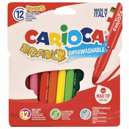 Фломастеры Carioca Bravo утолщенные, 12 цветов