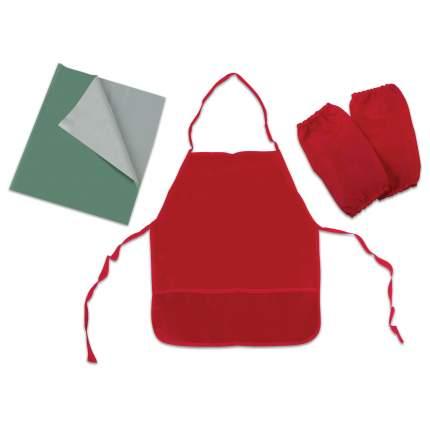 Набор для уроков труда Пифагор клеенка ПВХ зеленая 69х40 см, фартук и нарукавники красные
