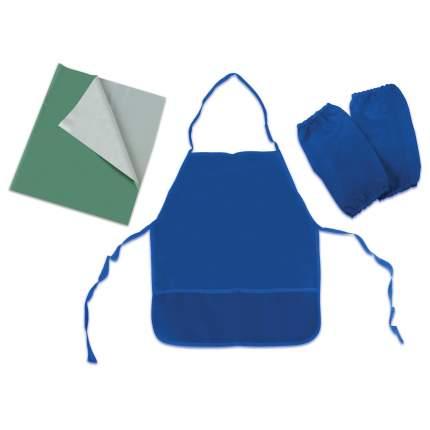Набор для уроков труда Пифагор клеенка ПВХ зеленая 69х40 см, фартук и нарукавники синие