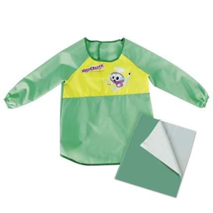 Набор для уроков труда Юнландия клеенка ПВХ 40x69 см, фартук-накидка с рукавами, зеленый