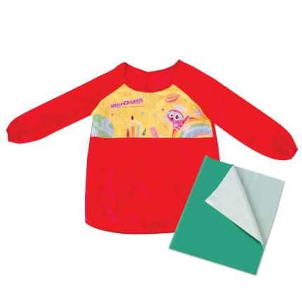 Набор для уроков труда Юнландия клеенка ПВХ 40x69 см, фартук-накидка с рукавами, красный