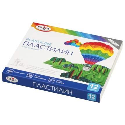Пластилин Гамма Классический со стеком, 12 цветов, 240 г