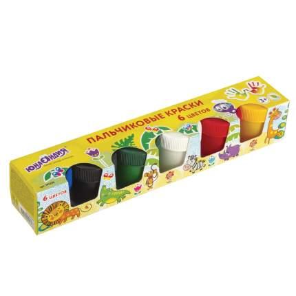Краски пальчиковые Юнландия Сафари, 6 цветов по 35 мл