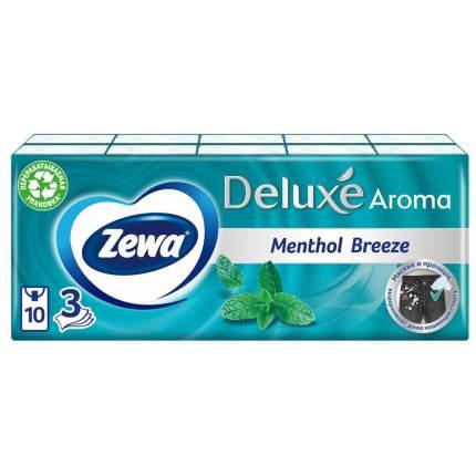 Бумажные платки Zewa Deluxe Ментол 3 слоя 10*10шт