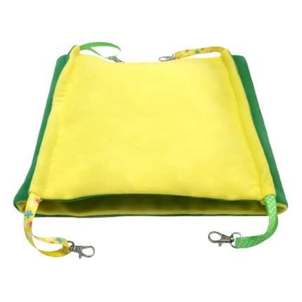 Гамак для грызунов Доброзверики Двухуровневый флис 29x29см зеленый, желтый