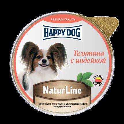 Влажный корм для собак Happy Dog Natur Line, телятина, индейка, 10шт, 125г