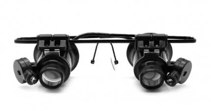 Лупа-очки Kromatech налобная бинокулярная 20x с подсветкой 2 LED MG9892A-II
