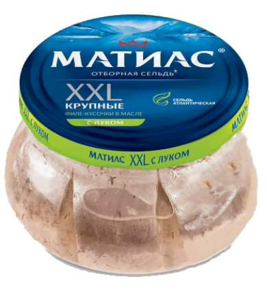 Сельдь Матиас филе-кусочки в масле с луком 260 г
