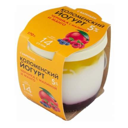 Йогурт Коломенское молоко черника-малина-манго 5% 170 г