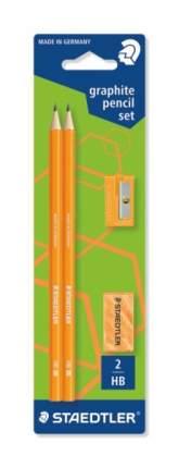 Карандаш ч/графит. Wopex, HB, оранжевый неон, 2 шт.+точилка+ластик, Staedtler