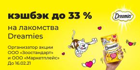 Dreamis кешбэк 33% до 16.02.2021