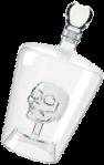Бутылка стеклянная со скелетом